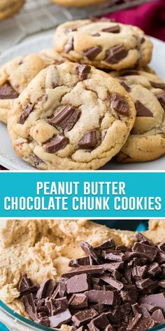 A sweet & simple recipe for soft, chewy peanut butter chocolate chunk cookies loaded with melty milk chocolate candy bar pieces. Bar Recipes, Easy Cookie Recipes, Easy Desserts, Baking Recipes, Delicious Desserts, Dessert Recipes, Easy Chocolate Chip Cookies, Chocolate Peanut Butter, Heavenly