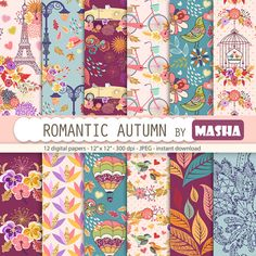 """Autumn digital papers: """"ROMANTIC AUTUMN"""" with fall digital paper, romantic digital paper, leaves pattern, 12 images, 300 dpi. jpg files"""