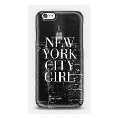 New York City Girl Black White Manhattan Skyline iPhone ($40) ❤ liked on Polyvore featuring accessories, tech accessories and phone cases