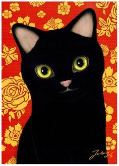 Jetoy Choo Choo Cat Postcard: Gamy Floral