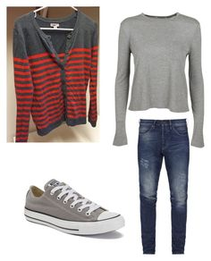 """""""Casual Striped Cardigan"""" by amy-flannery-skaar on Polyvore featuring Converse and T By Alexander Wang"""
