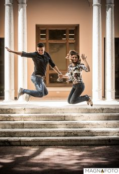 The ultimate leap of joy while bride flashes her wedding ring  #engagement #engaged #photosession #inlove #love