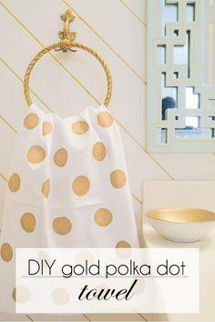 DIY Fabric Painted Gold Polka Dot Towel - Cuckoo4Design