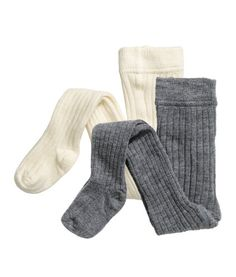 Natural white. BABY EXCLUSIVE. Rib-knit tights in a soft cotton blend with an elasticized waistband.
