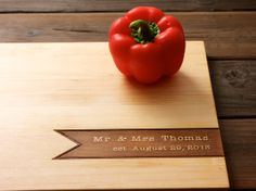 Mr & Mrs Personalized Cutting Board - 12x16 - family name - custom valentine wedding or anniversary gift for foodie couple