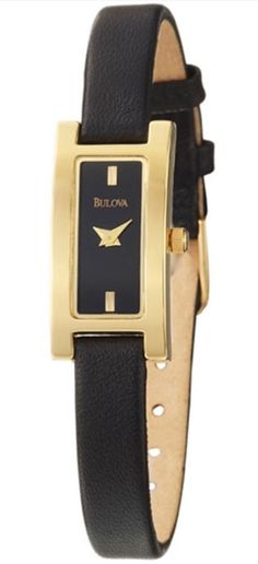Bulova 97T72 Women's Watch Black Dial Gold Tone Vessel And Leather Strap #Bulova