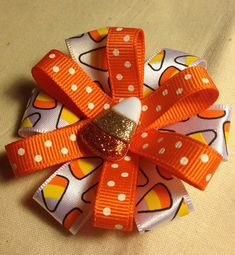 "Halloween Fall Candy Corn 3"" Hair Bow Clip  Great for Little Girls and American Girls - Candy Corn & Polka Dots FREE SHIPPING on Etsy, $4.00"
