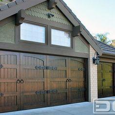 Custom Wood Garage Doors With Decorative Dummy Hardware Made In