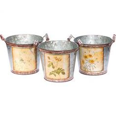 """Set of three weathered tin planters with wildflower designs.   Product: 3 Piece planter setConstruction Material: Tin and PVCColor: MultiDimensions: 5.5"""" H x 6.75"""" Diameter eachCleaning and Care: Wipe with a damp cloth"""