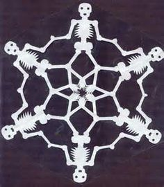 Calavera_Snowflake_by_MuseumGirl halloween oragami Paper Snowflake Designs, Snowflake Template, Paper Snowflakes, Snowflake Pattern, Snowflake Garland, Holidays Halloween, Fall Halloween, Halloween Crafts, Holiday Crafts