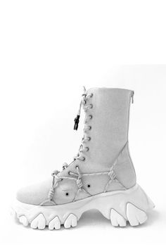 Grey Chamois Boots With Reflect Rope Angel Chen, Shoe Game, Combat Boots, Unisex, Grey, Cyberpunk, Heels, Accessories, Workout