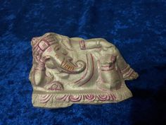 Handmade Ganesha made from plaster of paris, beautifully handpainted in silver and pink