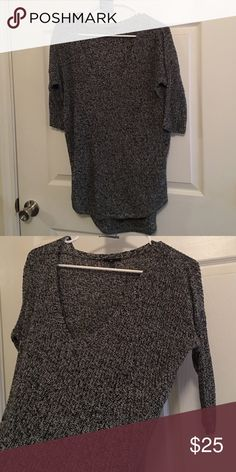 Express salt and pepper sweater 1/2 sleeves, long length, covers hips. Extra deep v neck. Great with a caged bra or a colorful tank top Express Sweaters V-Necks