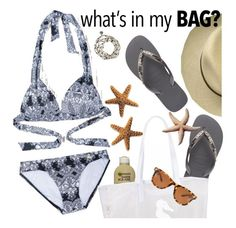 """""""what's in my bag"""" by sanddollardubai ❤ liked on Polyvore featuring Sunseeker, Havaianas, Cat Hammill, Jeepers Peepers and inmybag"""