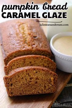 Looking for some homemade pumpkin bread for fall? Try this Pumpkin Bread with Caramel Glaze. The Perfect Pumpkin Bread Topped with a To-Die-For Caramel Glaze! Save this delicious pumpkin recipe for later! Want more family fall recipes? Just Desserts, Delicious Desserts, Dessert Recipes, Yummy Food, Yummy Yummy, Brunch Recipes, Easy Holiday Recipes, Fall Recipes, Sweet Recipes