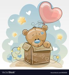 Birthday card with Cute Bear vector image on VectorStock Tatty Teddy, Bear Vector, Teddy Bear Pictures, Baby Posters, Blue Nose Friends, Cute Teddy Bears, Painting Wallpaper, Marianne Design, Baby Prints