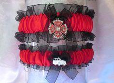 Bridal Shower Gift - Maltese Cross Wedding Garters - Firefighter's Wedding Garter Set - Red and Black Wedding - Renewal Wedding, Wedding Vows, Wedding Couples, Fall Wedding, Dream Wedding, Wedding Black, Firefighter Wedding Cakes, Fireman Wedding, Wedding Garter Set