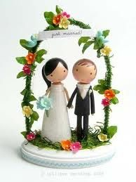 Wooden wedding cake topper/ figures with floral arch