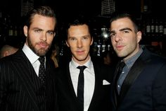 Benedict Cumberbatch with Chris Pine and Zachary Quinto. Excuse me while my brain explodes from too much hotness in one picture.