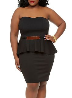 Plus Size Strapless Peplum Dress with Gold Metal Waist Accent,BLACK