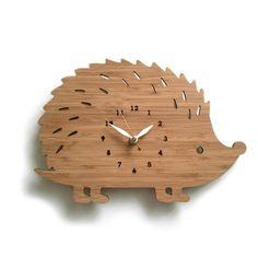 Wooden Hedgehog Clock. Adorable!