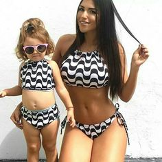 bbbc1d14505 💣2018 US Womens Summer matching daugther Swimsuit Bandage Bikini Push-up  www.coolfashion
