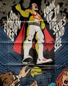 'Open Your Eyes' by butcherbilly Vintage Comics, Vintage Posters, John Deacon, Queen Anime, Peter Pan Art, Queen Poster, Batman Poster, Queen Freddie Mercury, Queen Band