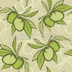 Illustration of vector green seamless pattern with olive branch vector art, clipart and stock vectors. Vektor Muster, Branch Vector, Vintage Stil, Surface Design, Vector Art, Plant Leaves, Clip Art, Stock Photos, Creative