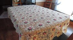 Cottage Rose Tablecloth Crocheted Lace by BridenetVintageLinen
