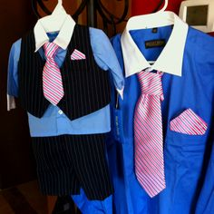 Father's day Matching outfits. I used 1/2 of his hanky to make the infant tie & hanky.... Just used an old clip tie and hot glue gun to wrap the hanky around. (so I hope my man never tries to blow his nose- it's only there for looks!!