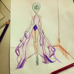 Fashion sketch maxi purple dress with headpiece #fashiondesigner #fashion
