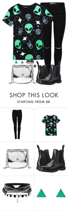 """""""We're the aliens."""" by ferny117 ❤ liked on Polyvore featuring WithChic, BP., Dr. Martens, Wolf & Moon, lyrics, aliens and pennywise"""