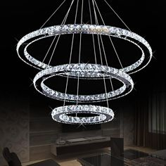 modern ring crystal contemporary chandelier lustre  cristal k9 high ceiling chandeliers led pendant lamp kroonluchters bedroom