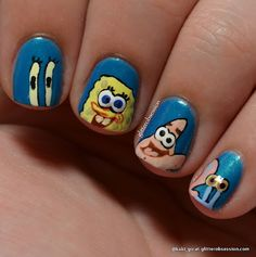 """Spongebob Squepants"" Nail Art"