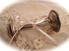 VINTAGE BABY RATTLE Silver Plated Baby Rattle Perfect for Baby Shower or Nursery Decor. 15.00, via Etsy.
