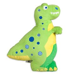 Your little one will love snuggling up to Olive Kids' Dinosaur T-Rex Plush Pillow. In bold and bright green with appliqued blue polka dots, a yellow tummy, and a big toothy grin, he coordinates with the Olive Kids Dinosaur Land Bedding.