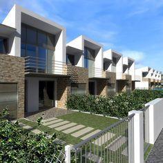 Row House Design, Duplex House Design, Modern House Design, Building Design, Building A House, Modern Townhouse, Minimalist House Design, Facade Architecture, Facade House