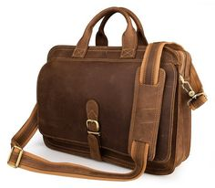 Mens Genuine Leather Briefcase Laptop Tote Bags Shoulder Business Messenger Bags(009)