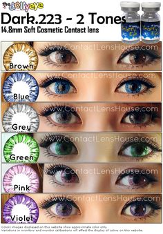 a 2 Tones lenses made to naturally blend with your eye color.Its design couple with nice color shade bring about a unique dolly eye expression. Natural Contact Lenses, Eye Contact Lenses, Lenses Eye, Eye Contacts, Colored Contacts, Pony Makeup, Beauty Makeup, Eye Makeup, Eye Expressions