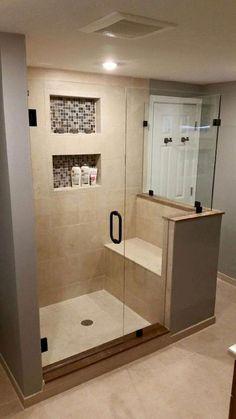 Small Bathroom With Shower, Tiny House Bathroom, Bathroom Design Small, Bathroom Interior Design, Modern Bathroom, Basement Bathroom, Bathroom Showers, Bathroom Cabinets, Narrow Bathroom
