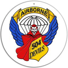 From the Altogether American licensed collection, this 504th Parachute Infantry Regiment Sign custom metal shape measures 14 inches by 14 inches and weighs in at 1 lb(s). This custom metal shape is ha