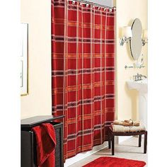 Better Homes and Gardens Windowpane Plaid Shower Curtain, Red Sedona