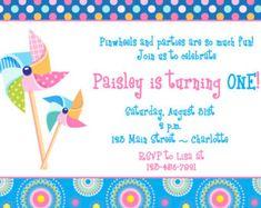 Pinwheels Birthday party invitation - first birthday invitation -- Pinwheel party invitation - pinwheels