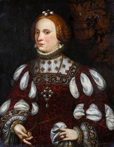 « Portrait d'une dame de qualité » Possibly Catarina of Portugal, Ecole Française de la fin du XVI – Epoque Renaissance Entourage de François Clouet 1520 / 1572. Au XVIe siècle, le costume était raffiné et luxueux. Les dentelles, les broderies en relief, les tissus riches et épais, les bijoux, tous ces éléments de parures contribuaient à la même aspiration: amplifier la beauté de ceux qui les portaient.