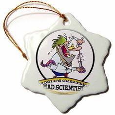 3dRose Funny Worlds Greatest Mad Scientist Cartoon, Snowflake Ornament, Porcelain, 3-inch