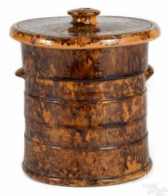 Pennsylvania redware covered canister, 19th c., impressed John Bell Waynesboro on lid, 7 1/2'' h. | Bidsquare