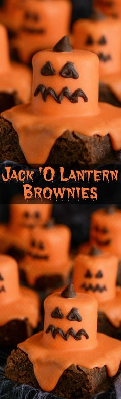 Melted Jack O Lantern Brownies for Halloween! Melted Jack O Lantern Brownies for Halloween! Source by momlovesbaking Halloween Desserts, Halloween Brownies, Soirée Halloween, Hallowen Food, Halloween Goodies, Halloween Food For Party, Halloween Themes, Halloween Decorations, Halloween Recipe