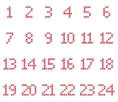 Cross-Stitch-Adventskalender-Zahlen in verschiedene Dateiformate umgewandelt als Plotter-Freebie                                                                                                                                                                                 More