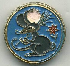 VINTAGE ART DECO USSR CCCP PRIMITIVE Russian MOUSE wheat ear metal Badge Pin