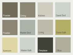 Sherwin Williams whole house palette left to right: Top: cocoon, hardware, sedate gray, sea salt. Middle: hardware, oyster bay, techno gray, sassy green. Bottom: lucent yellow, sea salt, andiron, chat room..